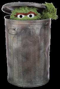 Oscar in a trash can